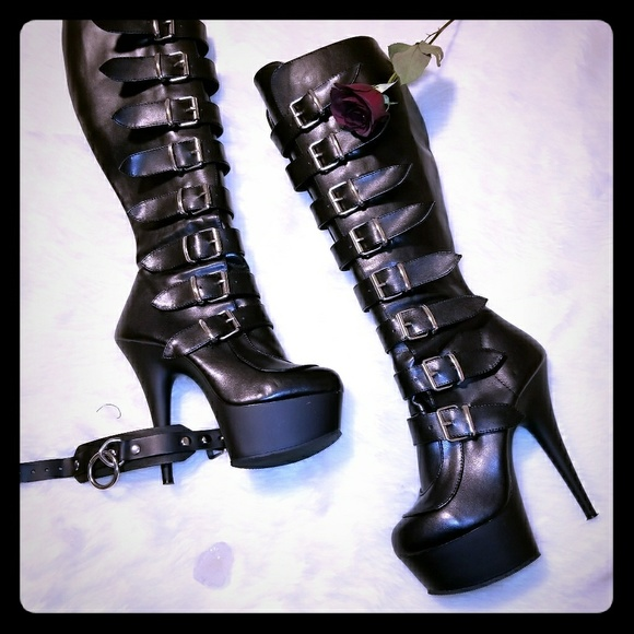 Pleaser Delight-2049 Knee High Black Boots Platform Stiletto Heels Buckles Goth
